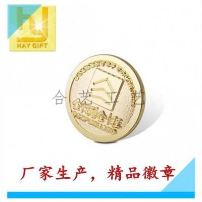 上海镀金微章/金色胸徽/圆形司徽设计批发生产