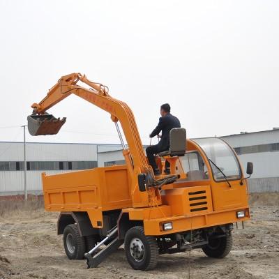 优质轮胎式随车挖价格 运输挖掘一体机 带挖斗的农用车